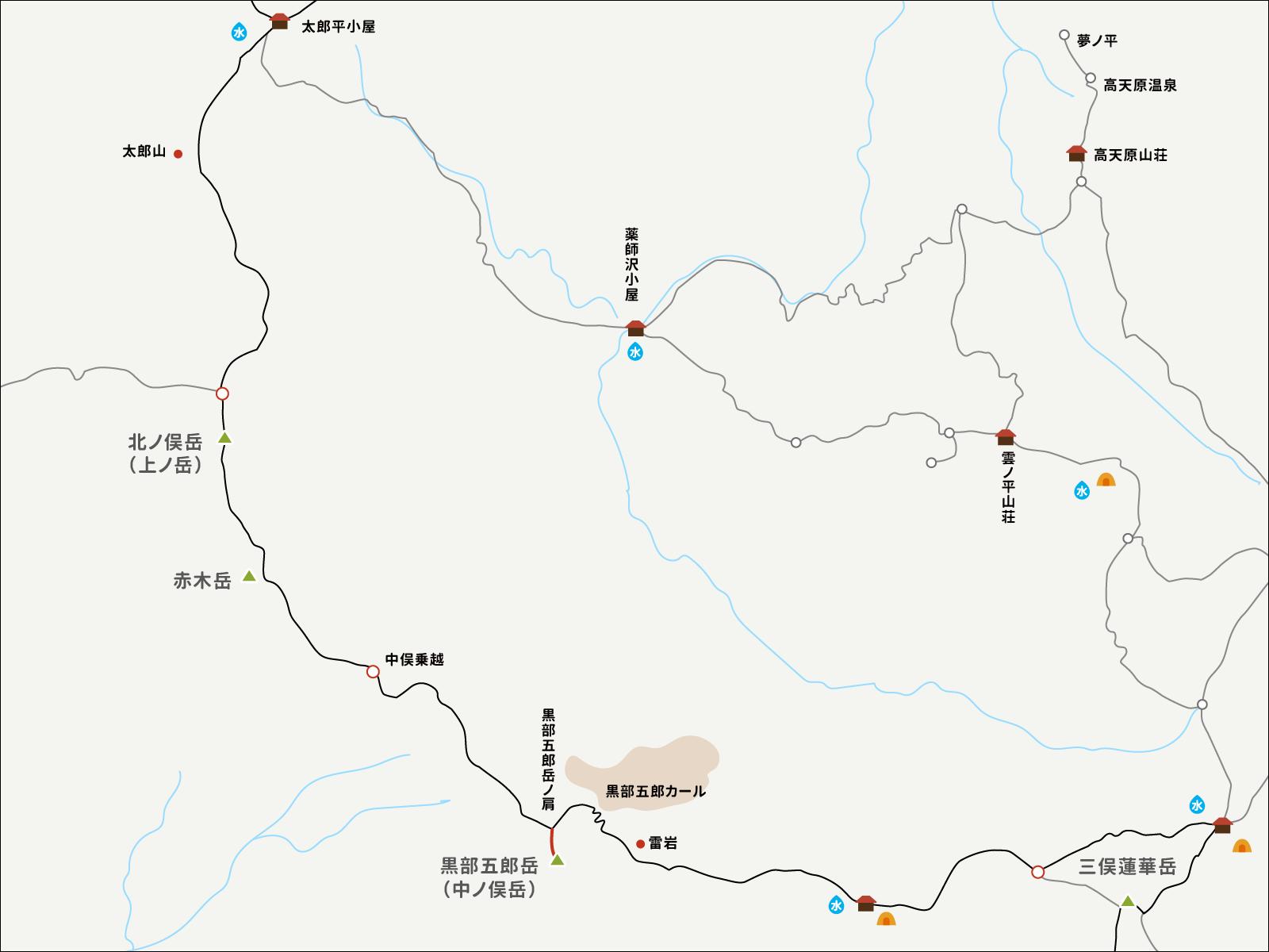 黒部五郎岳の肩から黒部五郎岳までのイラストマップ