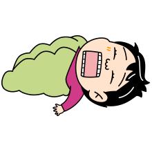 シュラフで眠る登山者のイラスト