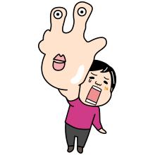 右手が痛い登山者のイラスト