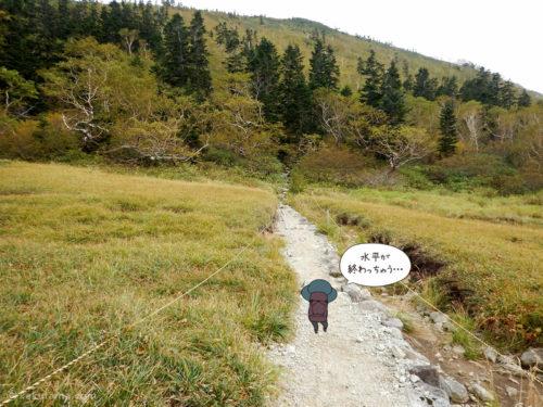 黒部五郎小屋から三俣へ向かって歩く
