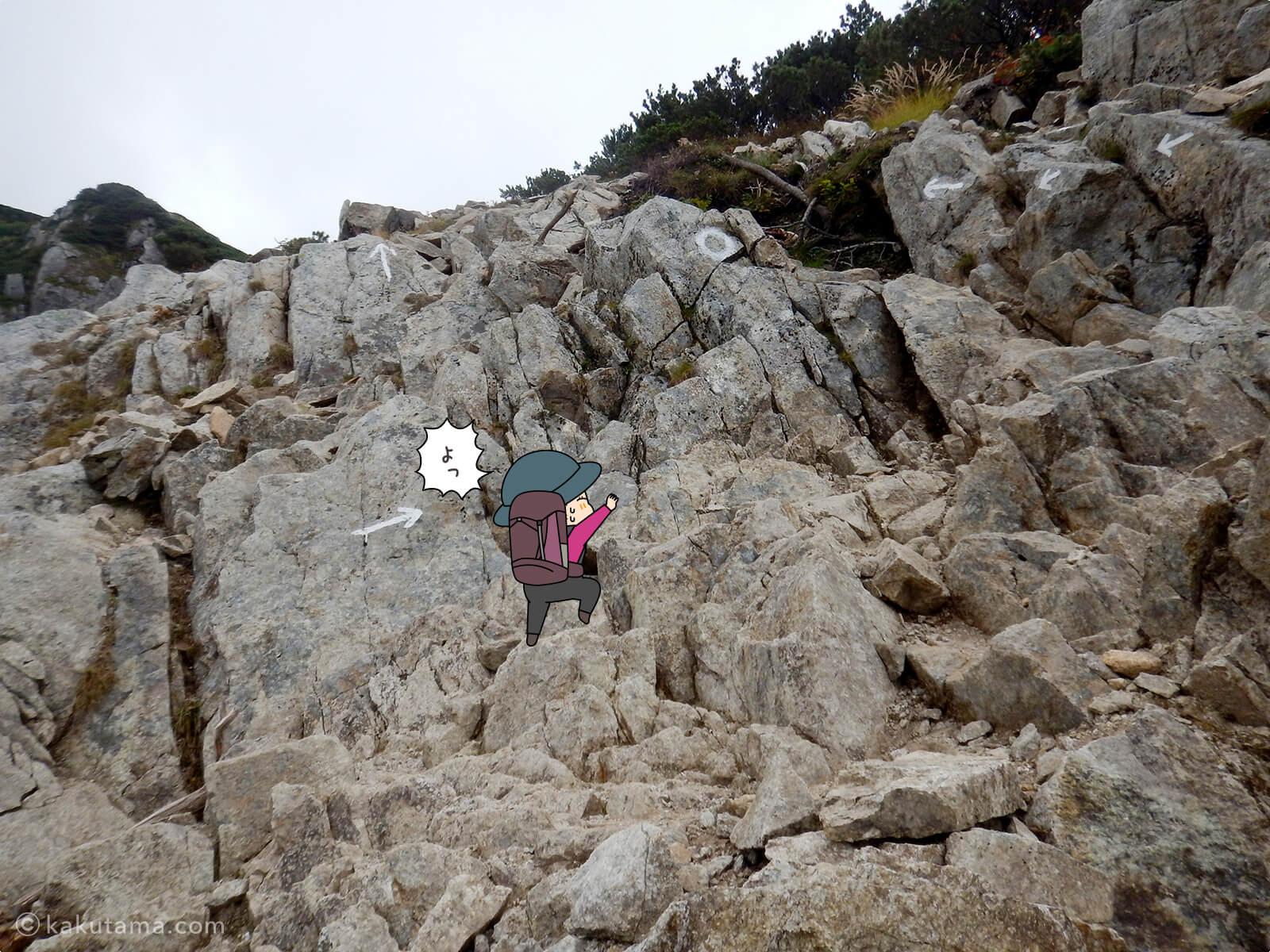 岩場をよじ登る