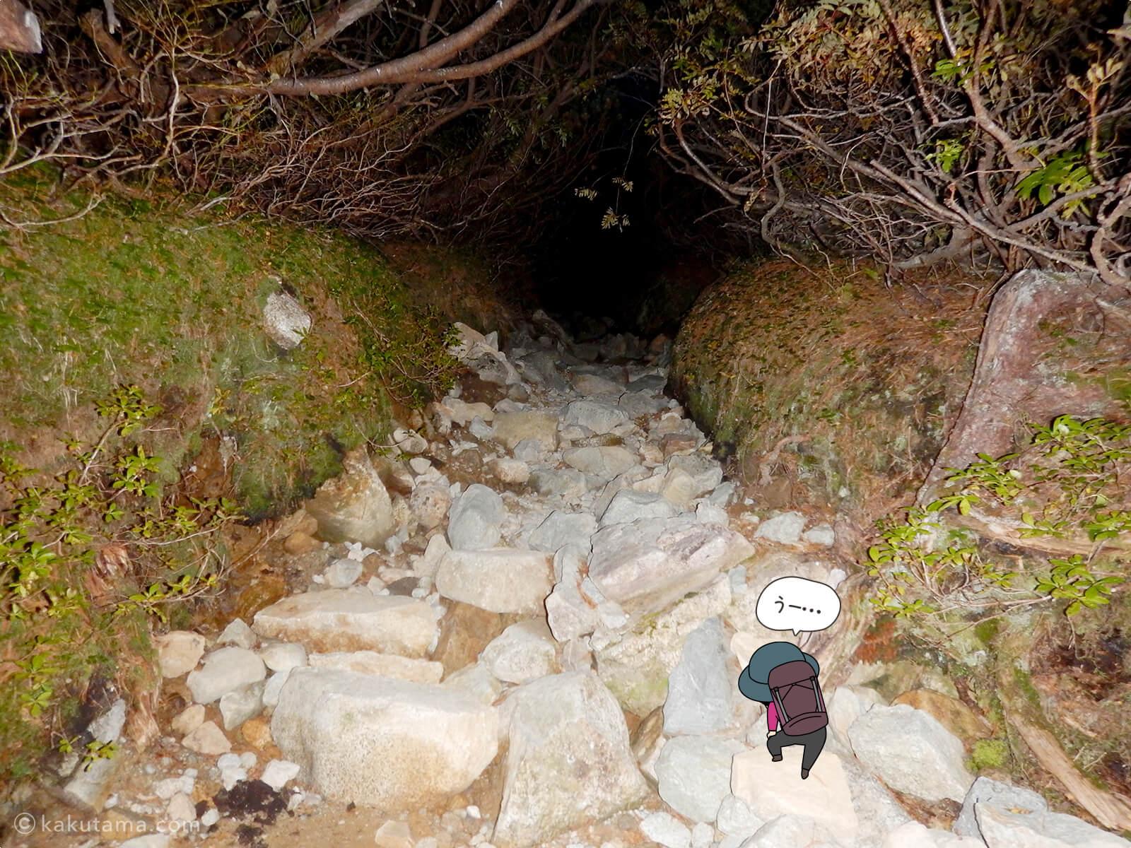 三俣山荘から上りはじめる3
