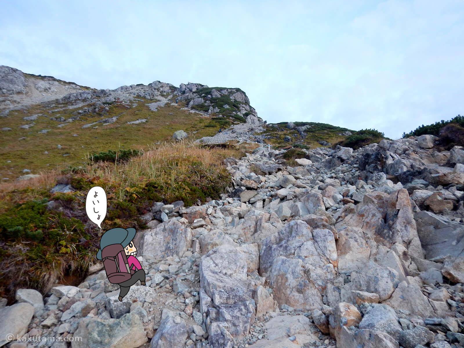 岩だらけの登山道1