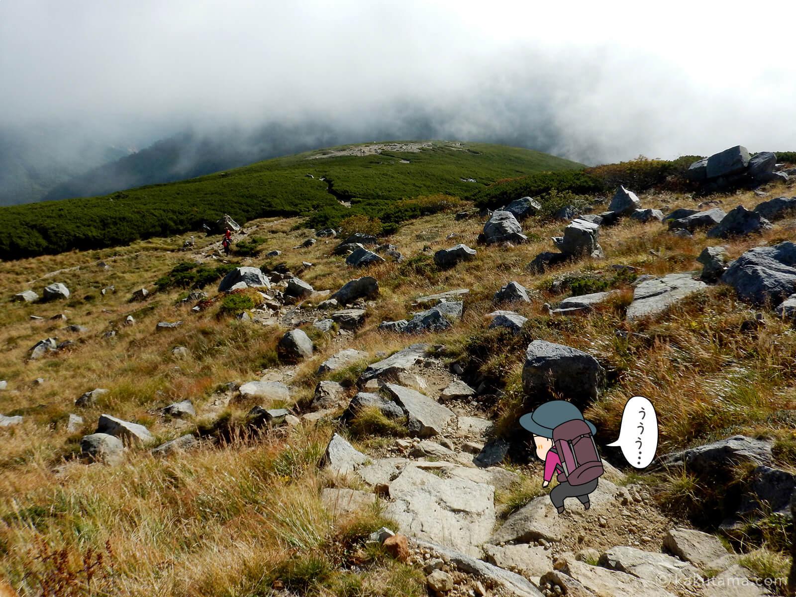 双六岳から下山開始3