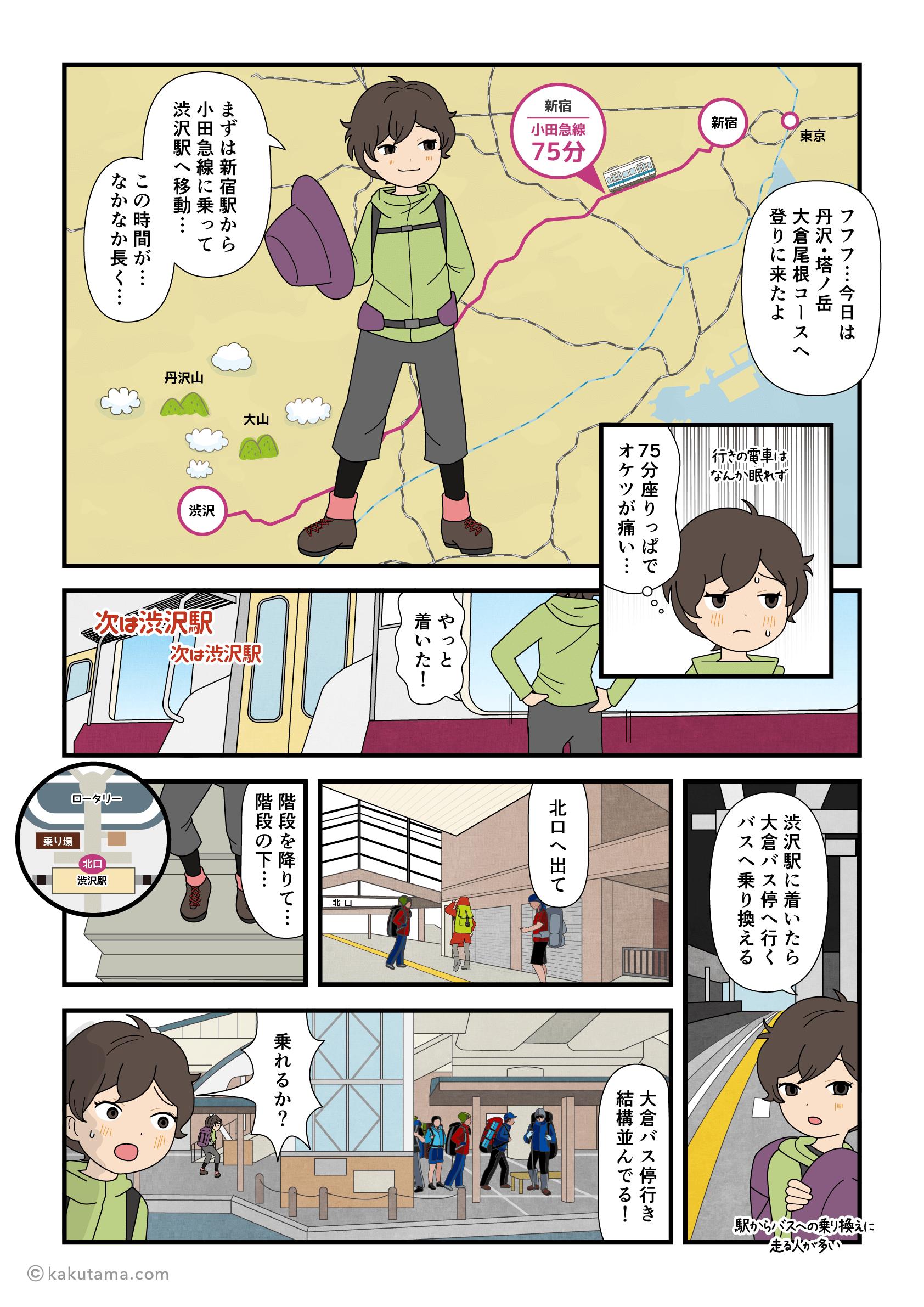 塔ノ岳の登山口へのアクセス方法を紹介する漫画