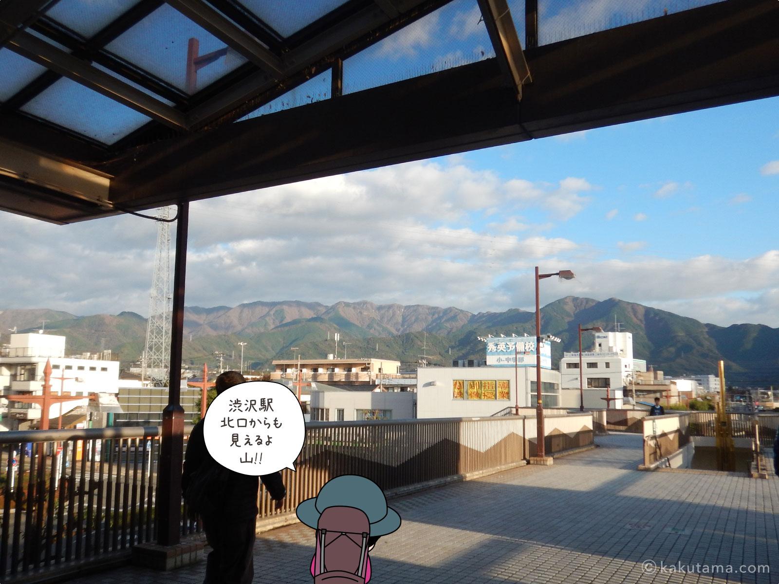 渋沢駅から見る丹沢山地
