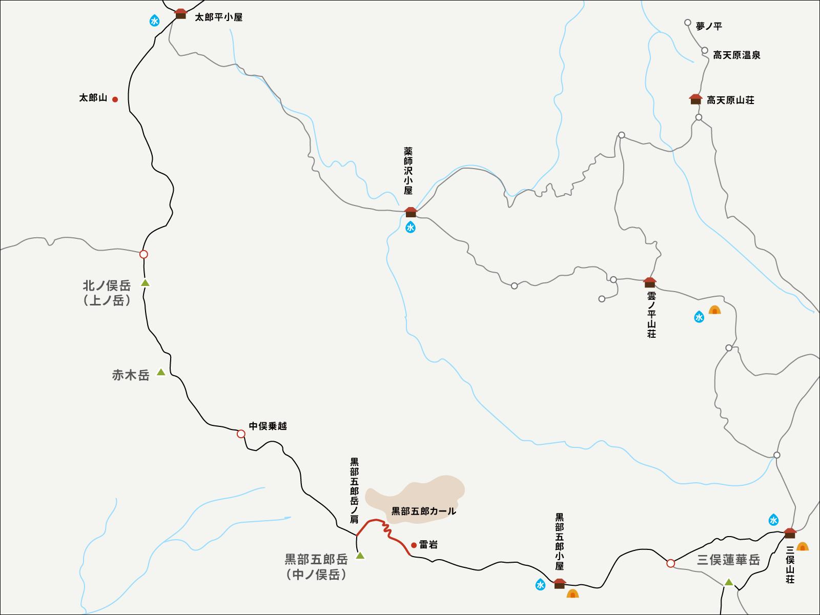 黒部五郎岳から雷岩までのイラストマップ