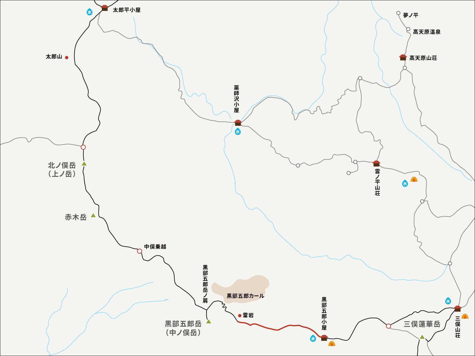 雷岩から黒部五郎小屋までのイラストマップ