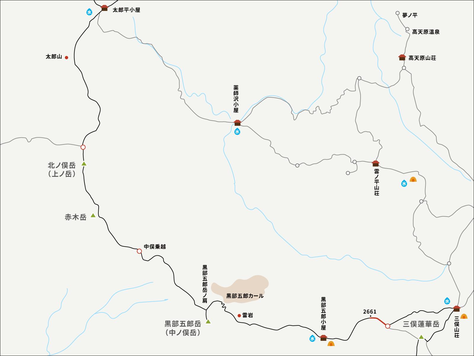2661から分岐までのイラストマップ