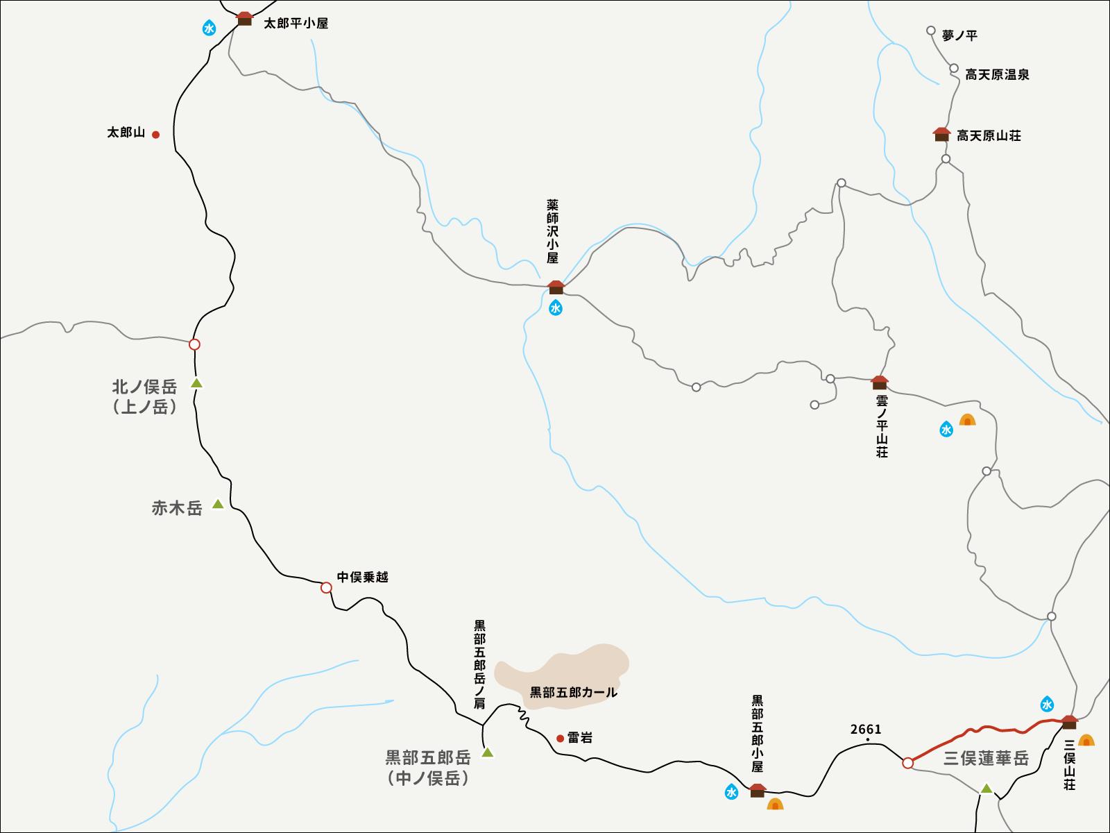 三俣山荘への巻き道の地図
