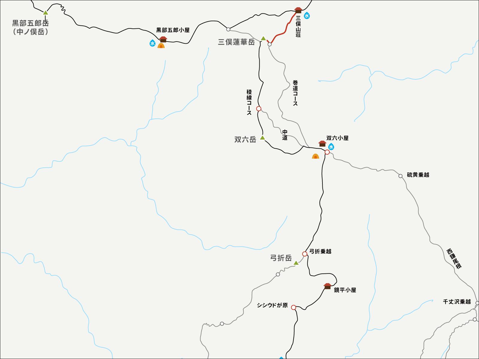 三俣蓮華岳へのイラストマップ