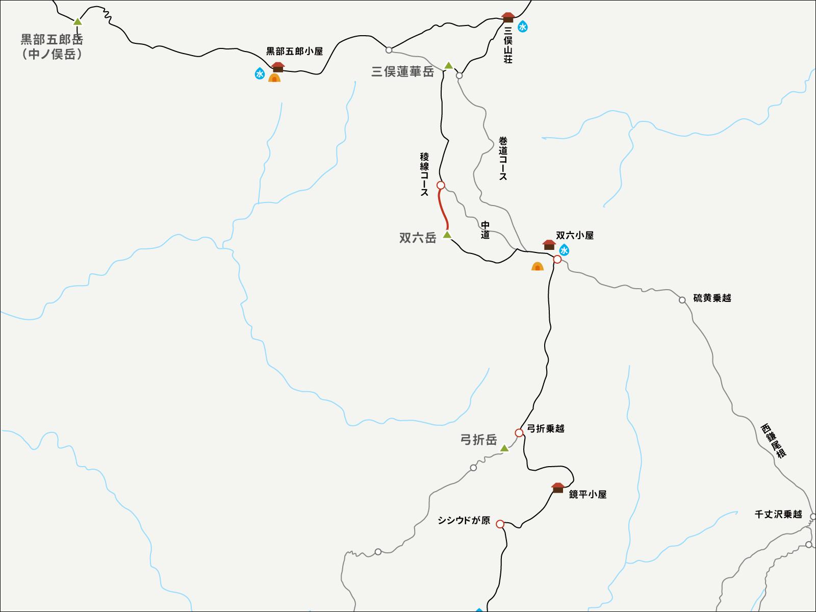 三俣蓮華岳から双六岳へのイラストマップ2
