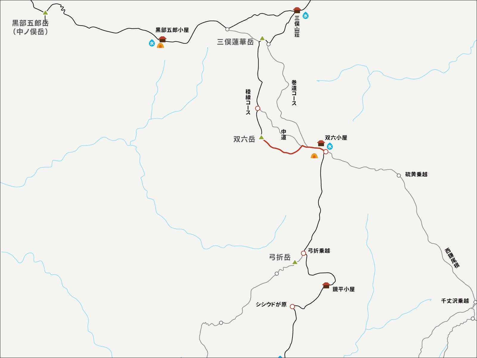 双六岳から双六小屋までのイラストマップ