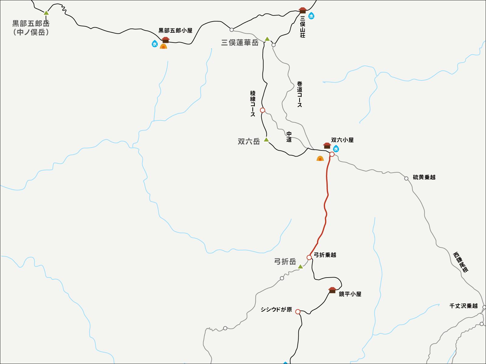 双六小屋から弓折乗越までのイラストマップ