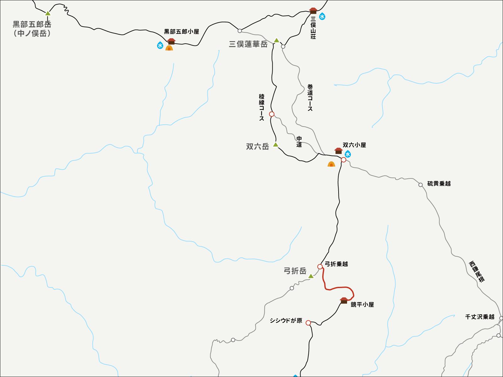 弓折乗越から鏡平山荘までのイラストマップ