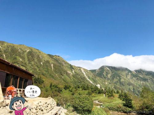 鏡平山荘から北アルプスの山を見上げる