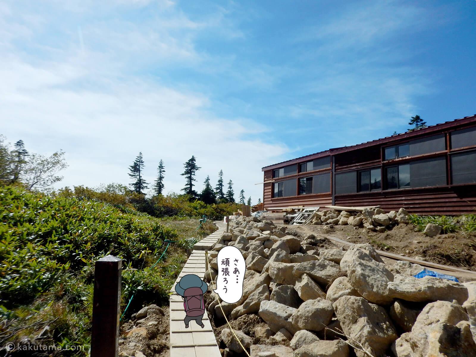 鏡平山荘から出発