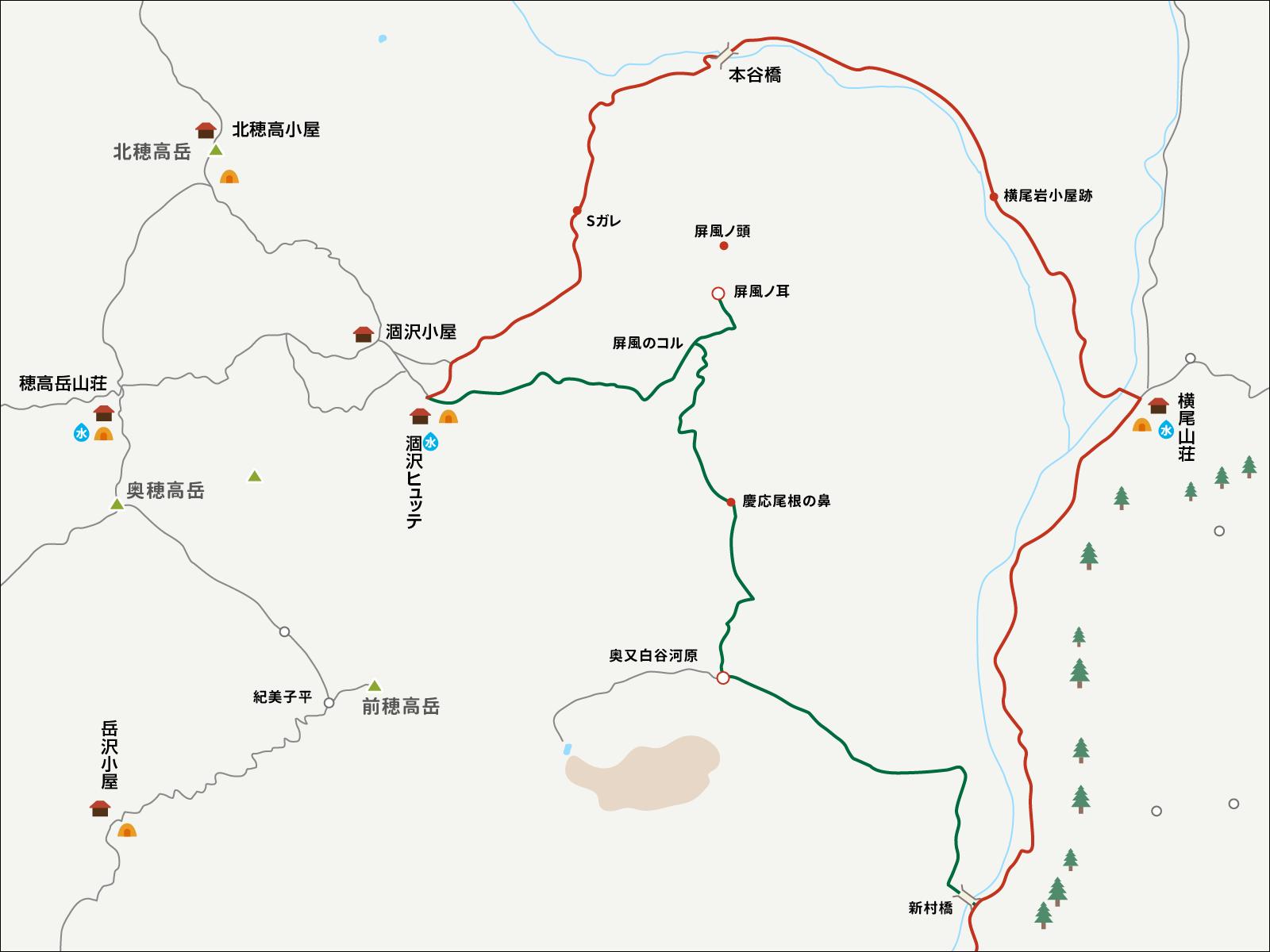 今回の涸沢パノラマルート登山コースの説明図