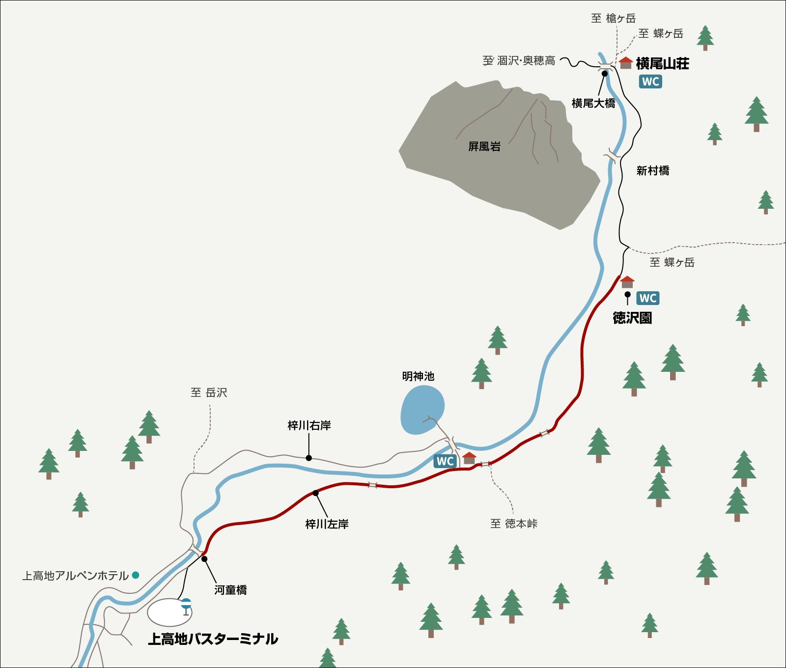 涸沢で単独テント泊&パノラマルート下山(2)横尾大橋 イラストマップ1