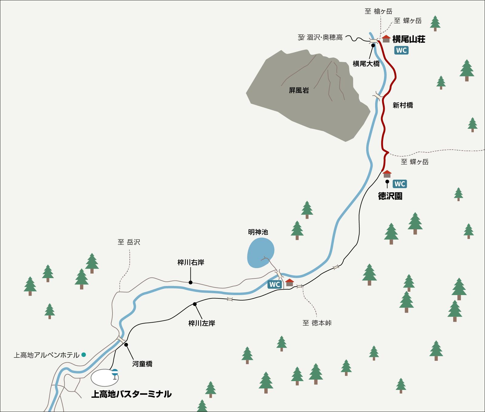 涸沢で単独テント泊&パノラマルート下山(2)横尾大橋 イラストマップ2