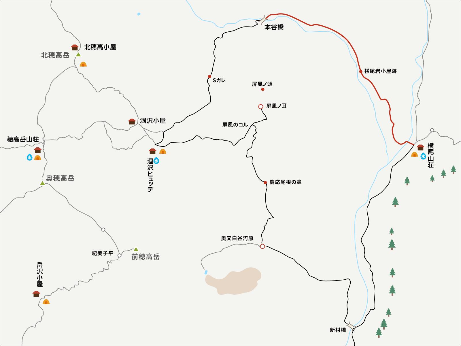 涸沢で単独テント泊&パノラマルート下山イラストマップ1