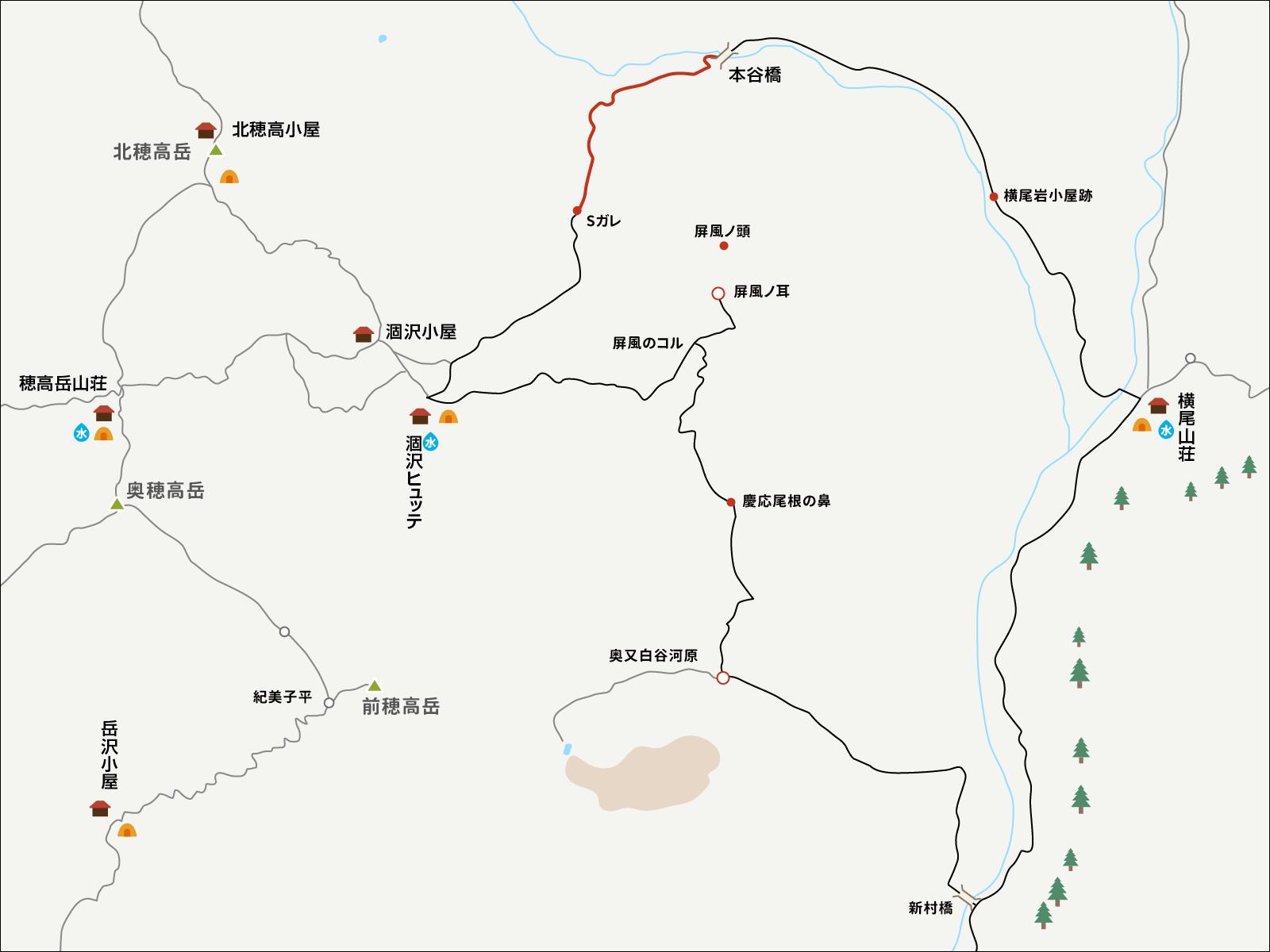 涸沢で単独テント泊&パノラマルート下山イラストマップ2