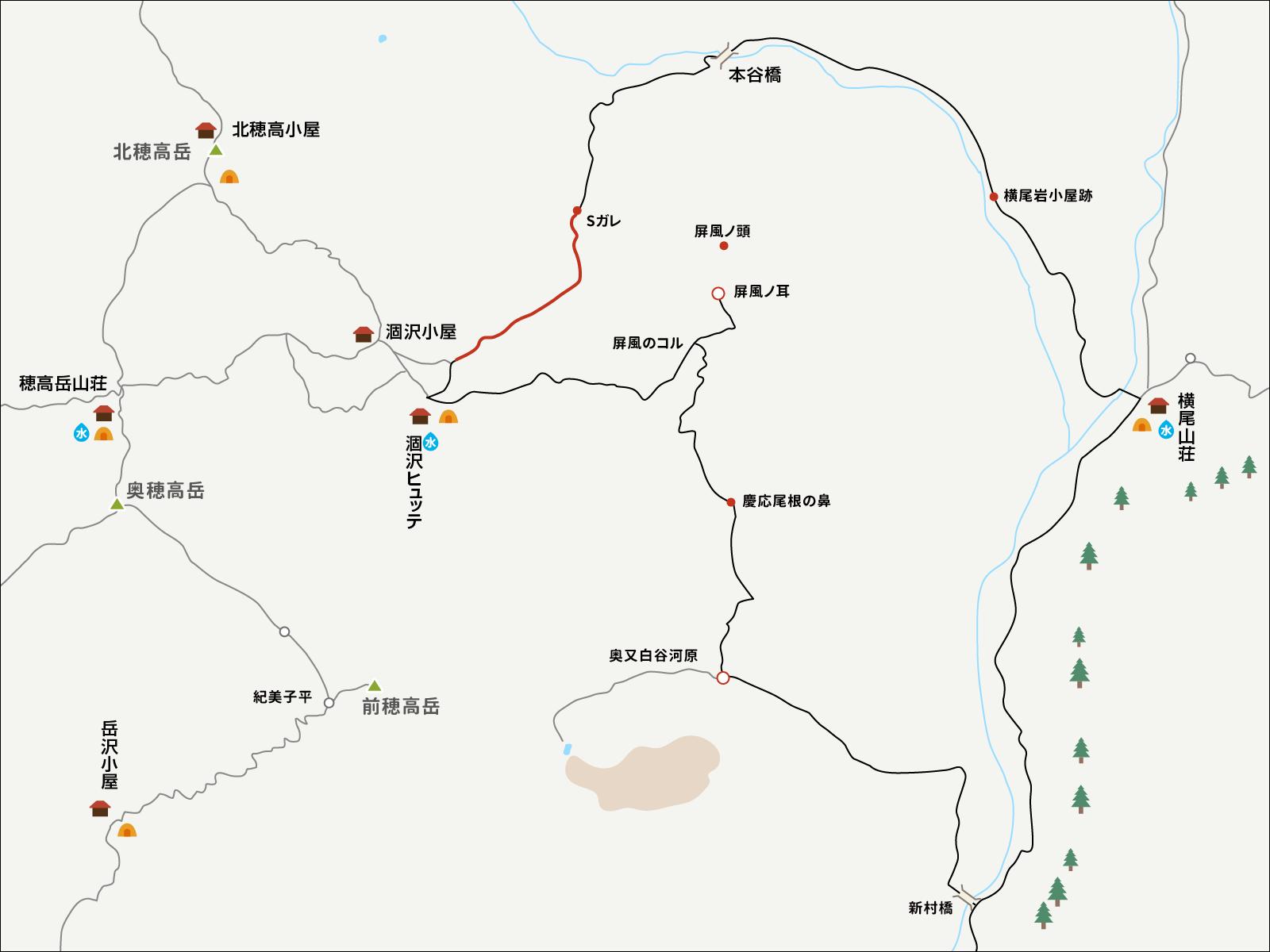 涸沢で単独テント泊&パノラマルート下山イラストマップ3