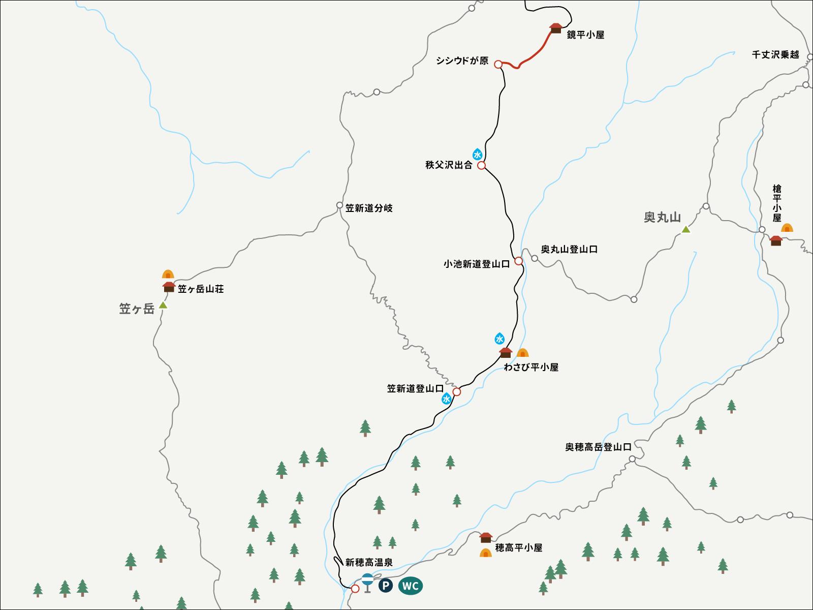 鏡平山荘からシシドウガ原までのイラストマップ