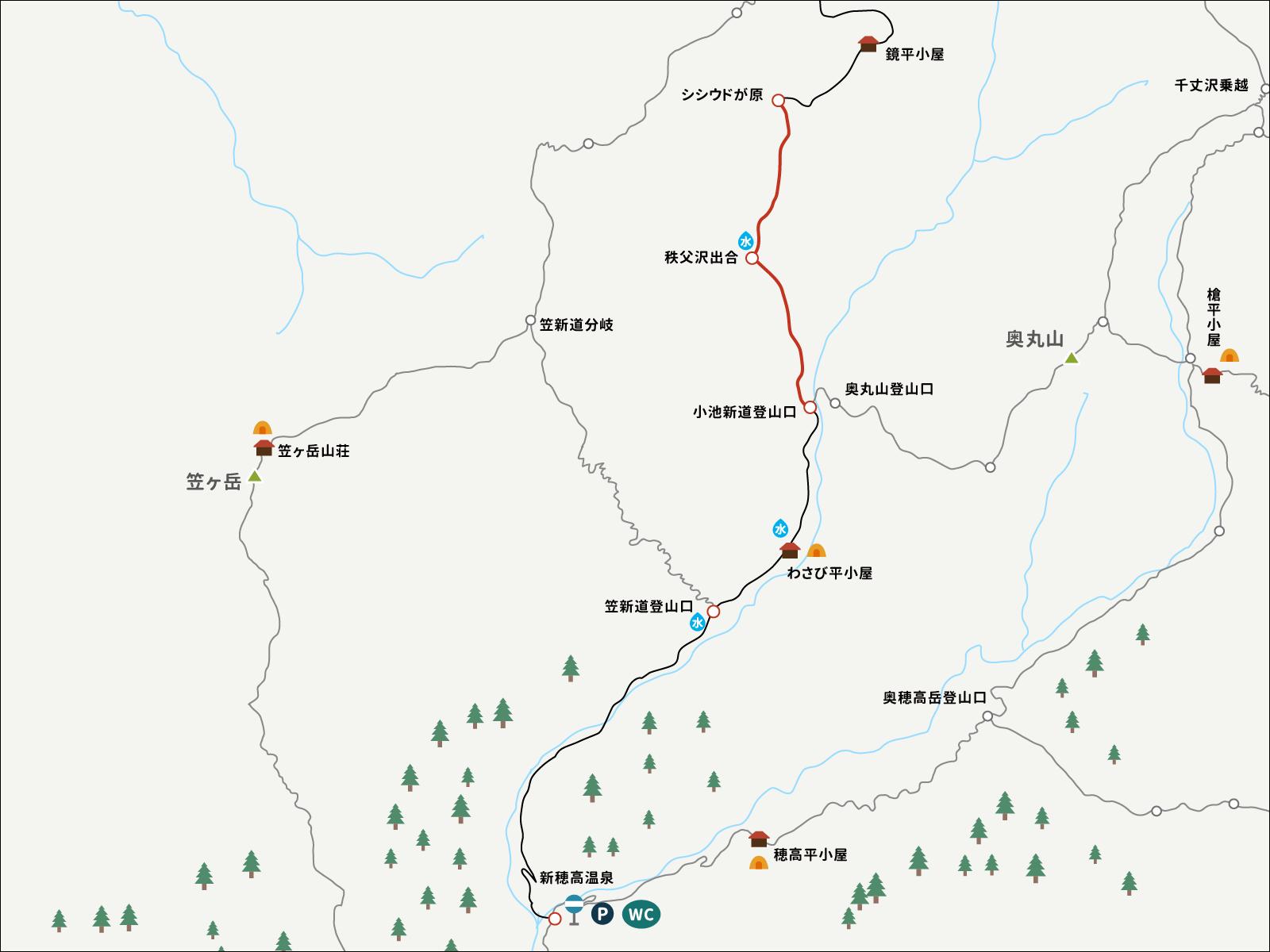シシドウガ原から小池新道登山口までのイラストマップ
