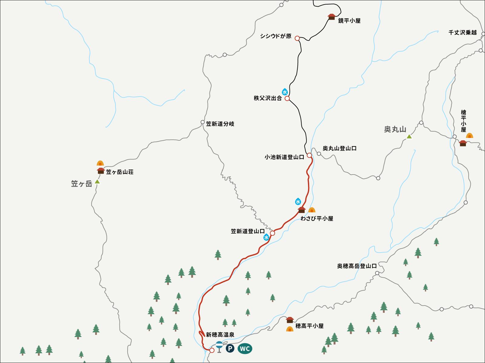 小池新道登山口から新穂高温泉までのイラストマップ