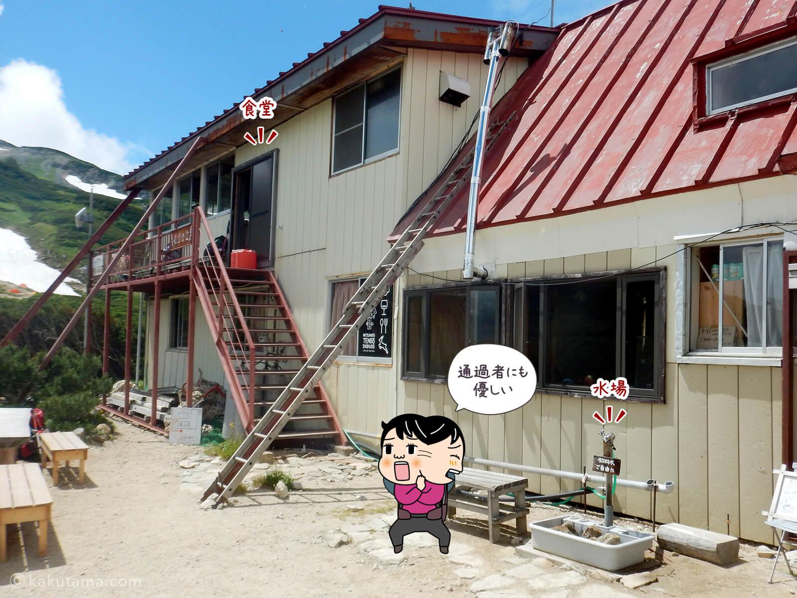 三俣山荘の水場と食堂