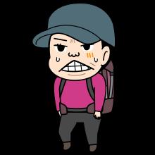 痛い顔をしている登山者のイラスト