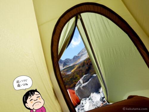 テント内から北穂高岳を見上げる