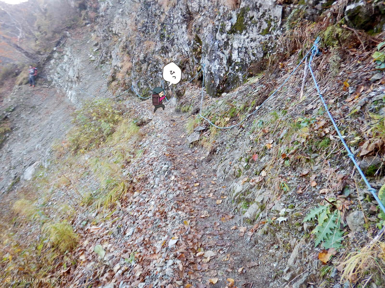 細い崖道が続く