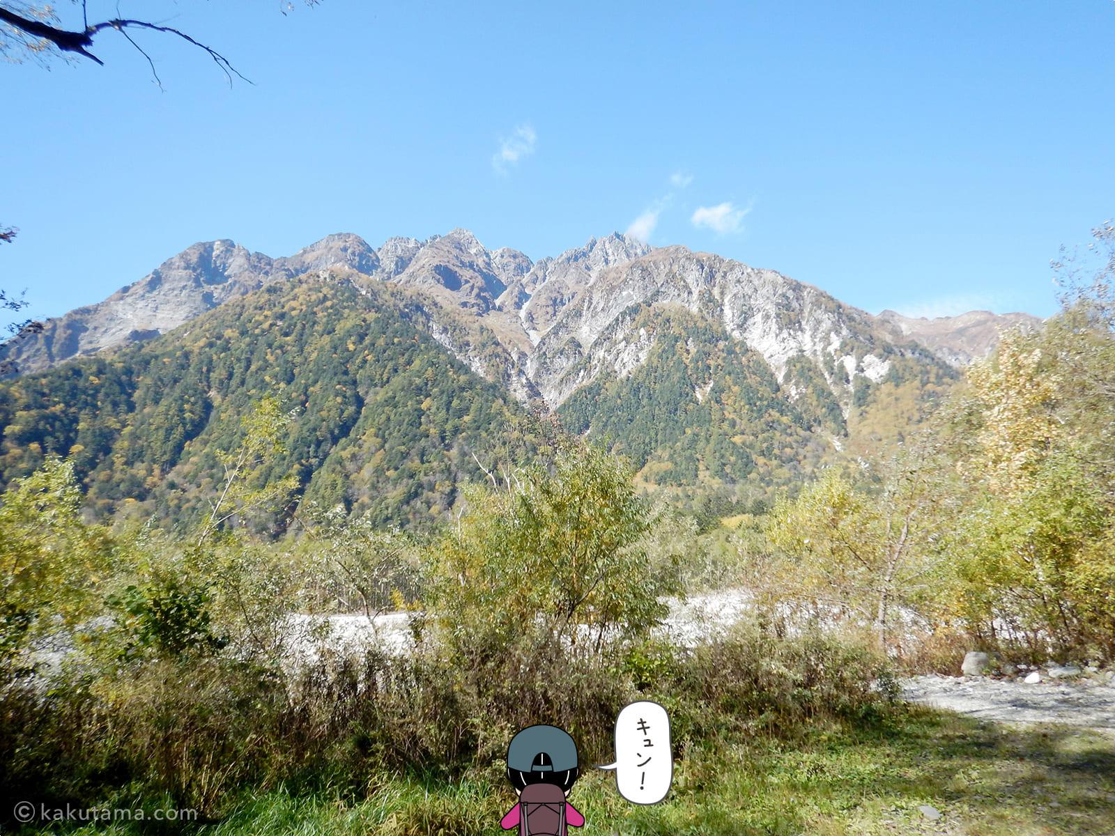 穂高連峰を見上げる