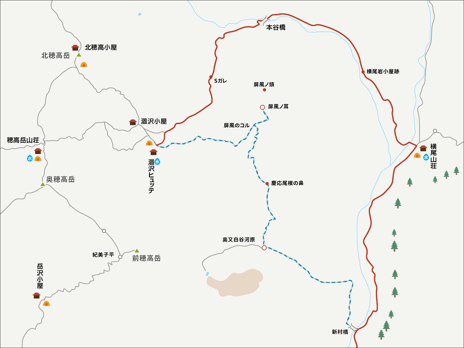 涸沢パノラマルートイラストマップ