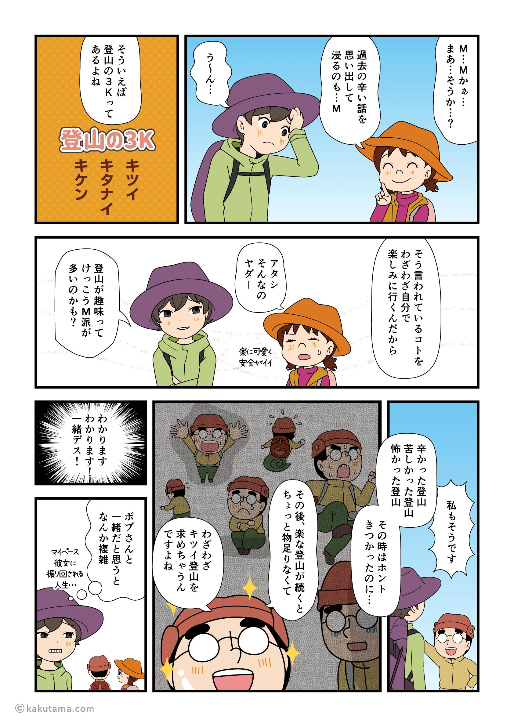 登山の3Kの話をする漫画