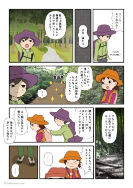 林道だとついつい並んで歩いてしまう登山者の漫画