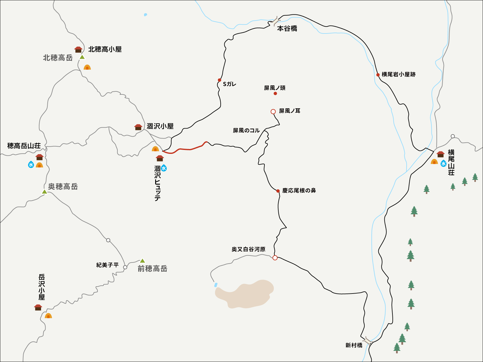 涸沢パノラマコースのイラストマップ1