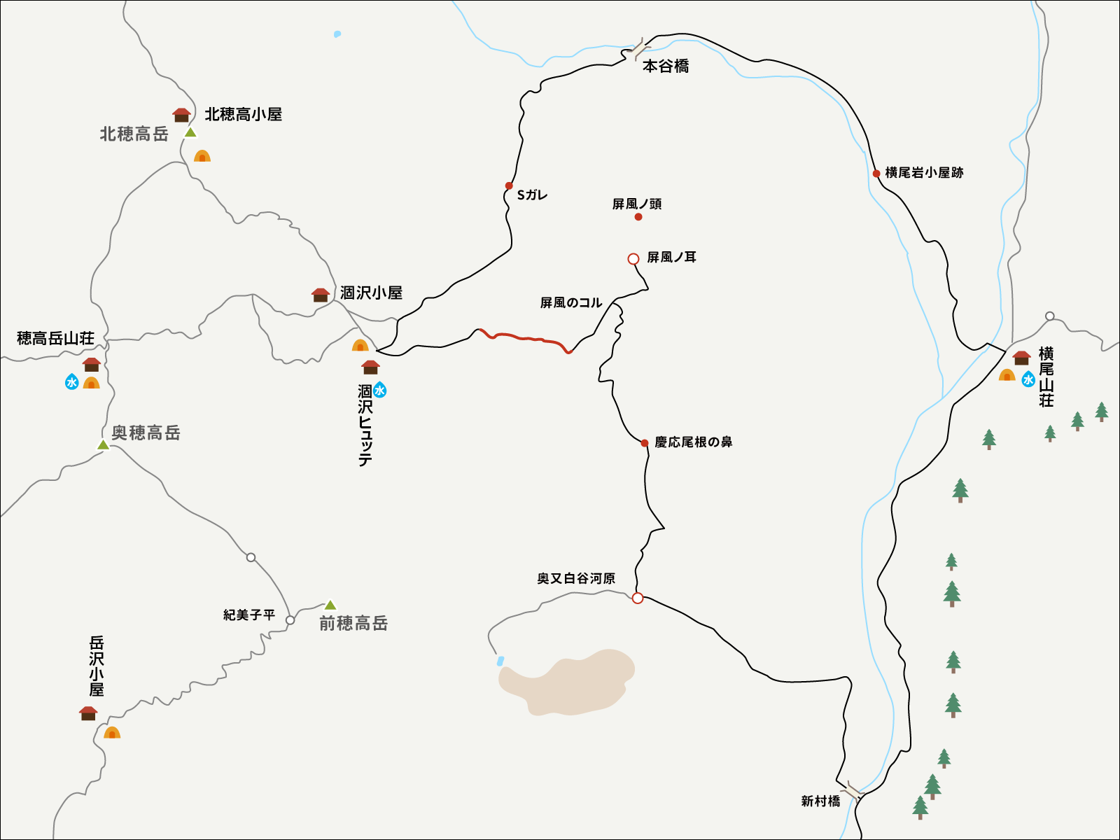 涸沢パノラマコースのイラストマップ2