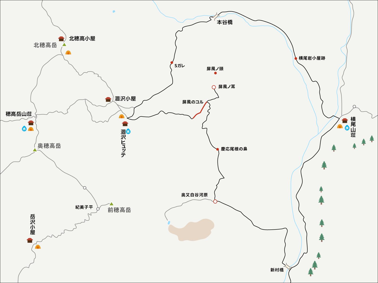 涸沢パノラマコースのイラストマップ3
