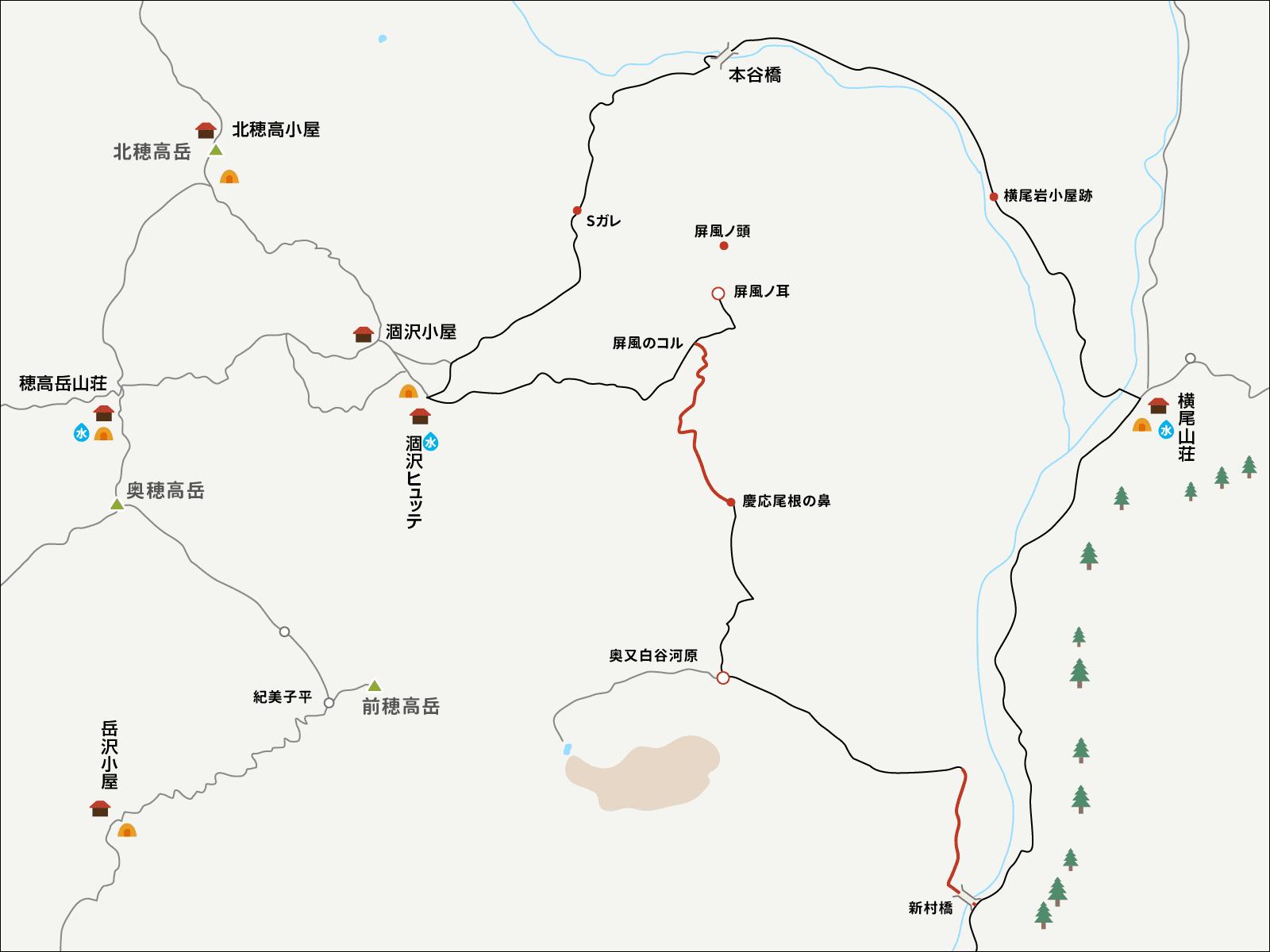 涸沢で単独テント泊&パノラマコース下山のイラストマップ3