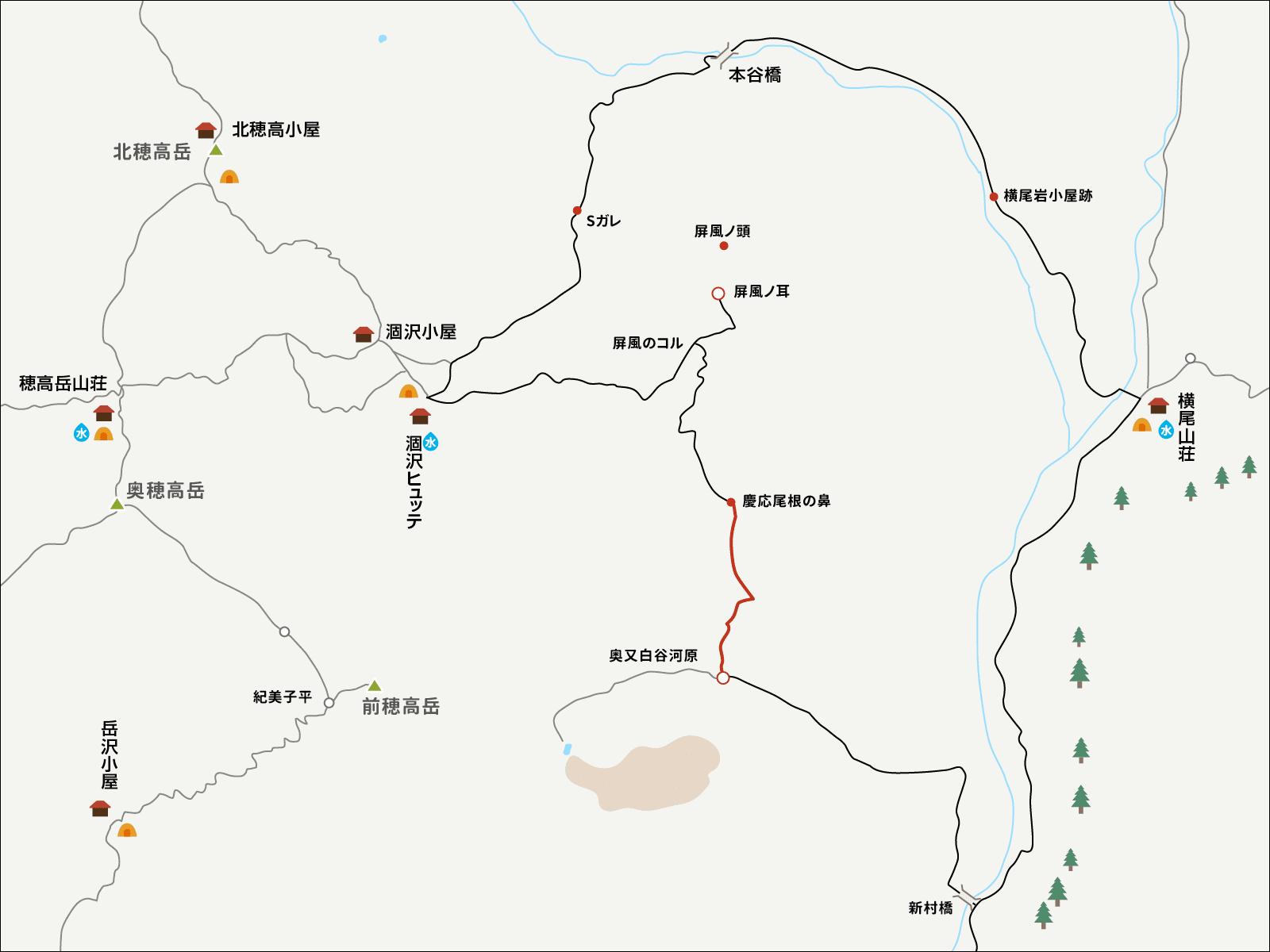 涸沢で単独テント泊&パノラマコース下山のイラストマップ2