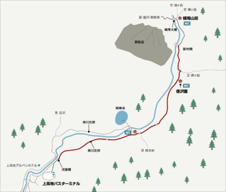 上高地へのイラストマップ