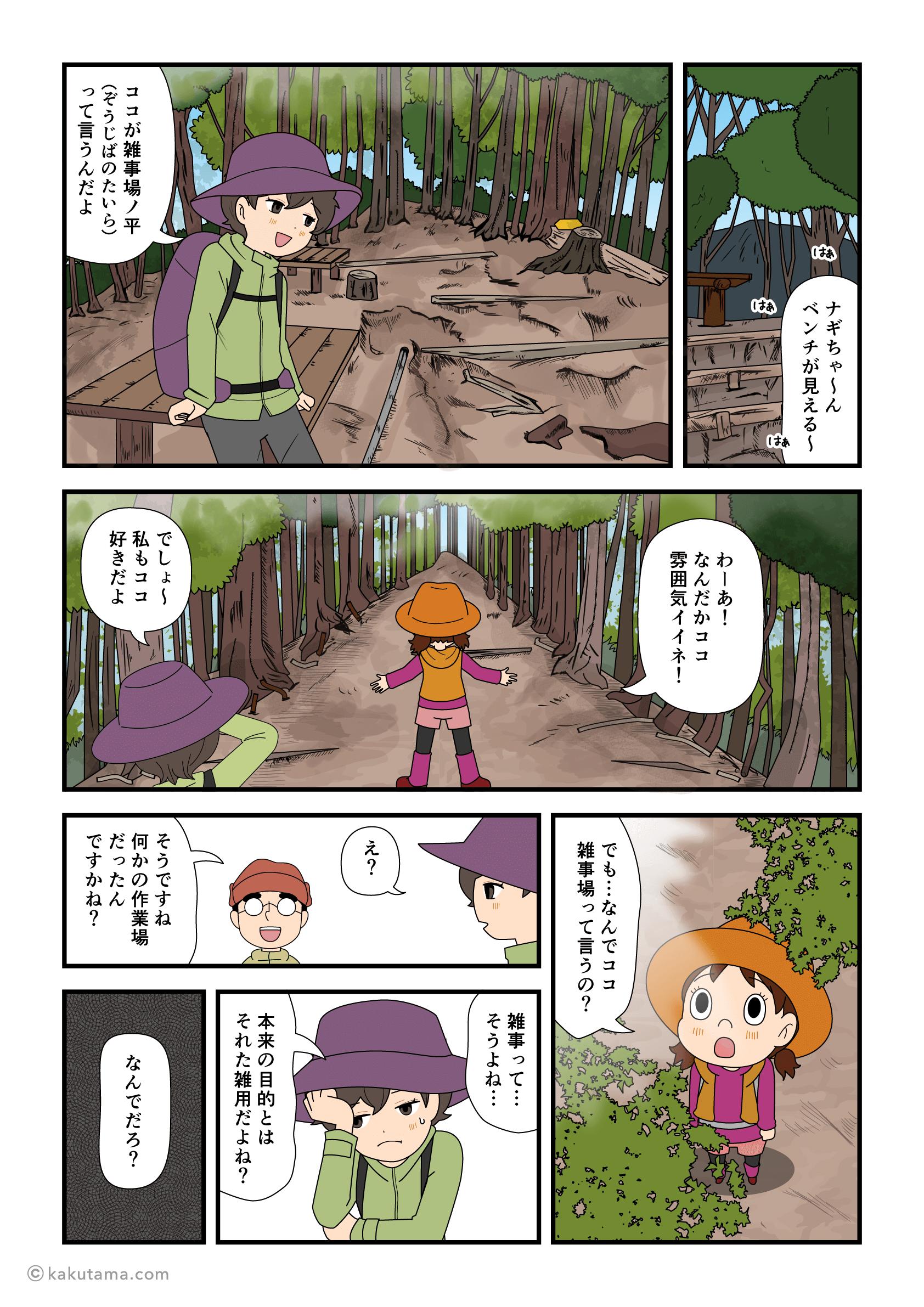 大倉尾根の雑事場ノ平についたマンガ