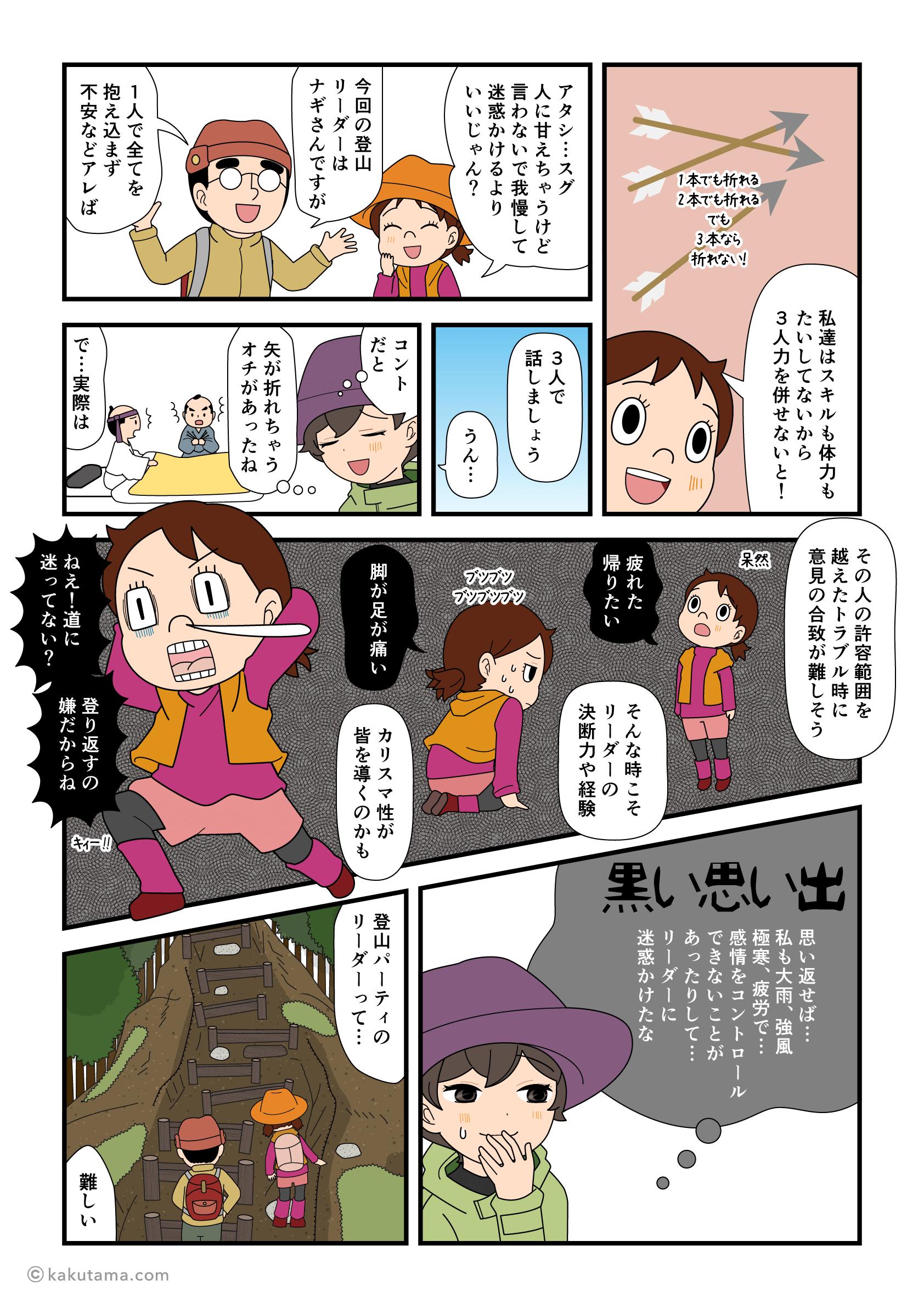 登山パーティのリーダーは難しいと思う登山者の漫画