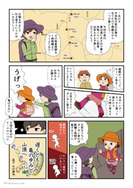 目標時間までに到着しなかったら登山は中止にしようと言うリーダーの漫画