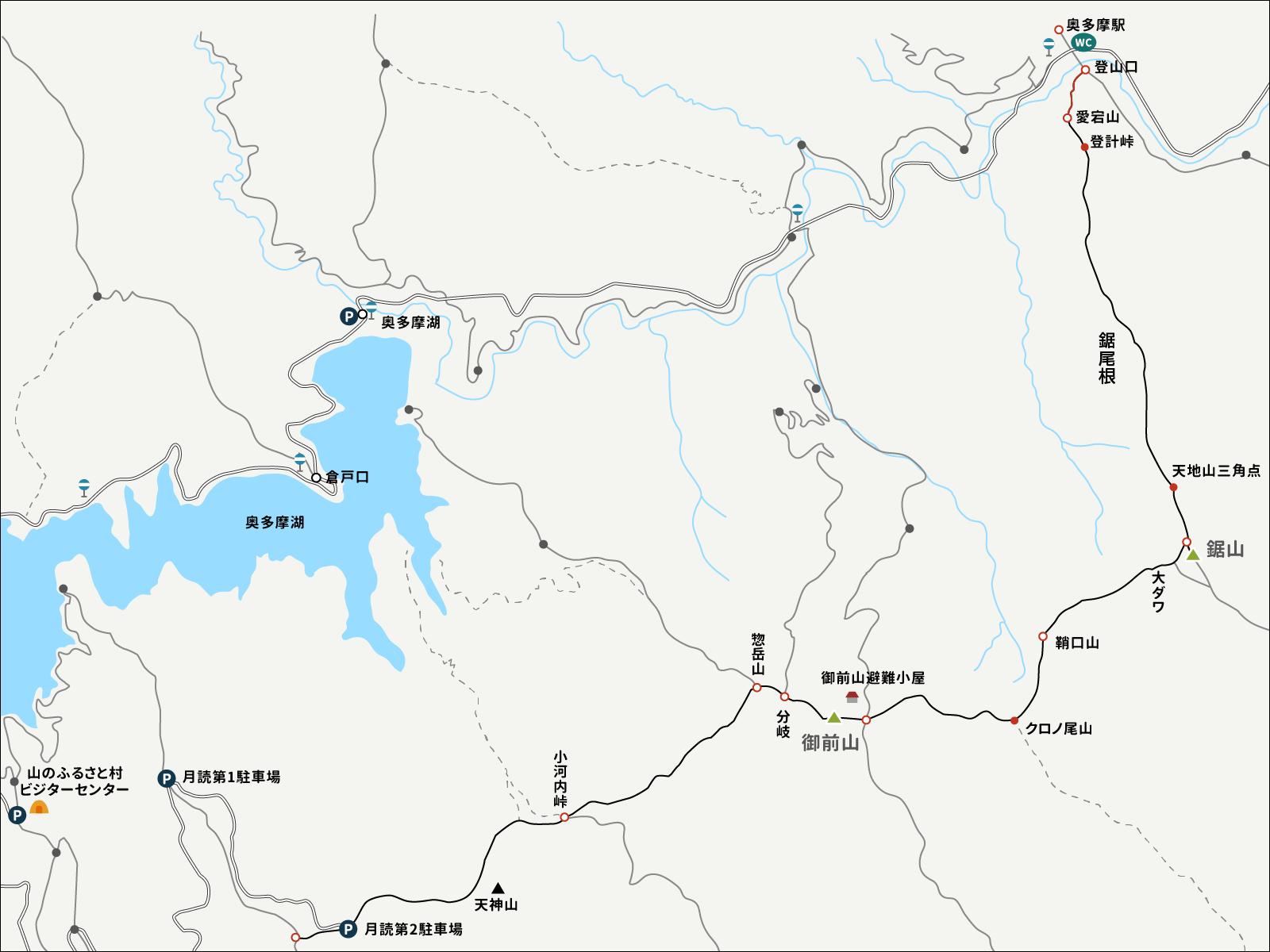 奥多摩から愛宕山までのイラストマップ1