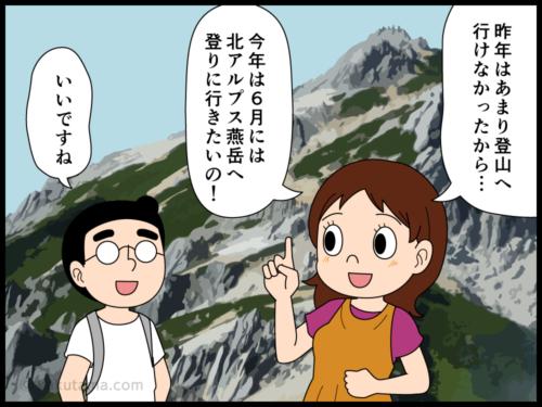 春の北アルプスの高山はまだまだ雪があることにびっくりする登山者の漫画