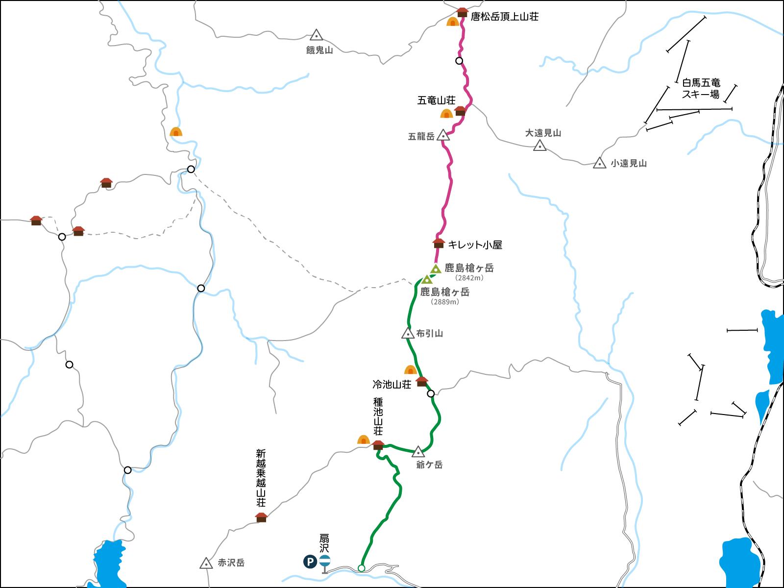 鹿島槍ヶ岳のコースマップ